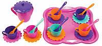 Ромашка, набор посуды с чайником и розовый подносом, 22 предмета. Тигрес