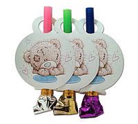 """Язычок гудок карнавальный """" Мишка Тедди """" , 6 шт. в уп.,"""