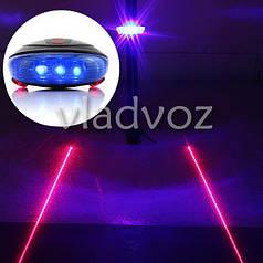 Фонарь на велосипед задний светодиодный фонарик велофара освещение 5 Led + 2 лазера синий