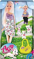 Семейная прогулка, набор с куклой 28 см. и маленькой куклой 11 см, 3 щенка, Ася