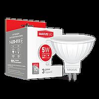 Светодиодная лампа MAXUS, 5W, 3000K, тёплого свечения, MR16, цоколь - GU5.3, 3 года гарантии!!!