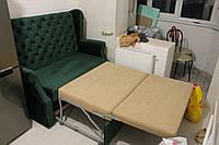 Мягкая кухонная мебель со спальным местом тёмно-зелёного цвета