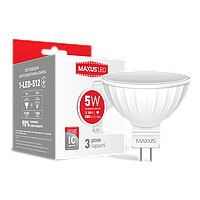 Светодиодная лампа MAXUS, 5W, 4100K, нейтрального свечения, MR16, цоколь - GU5.3, 3 года гарантии!!!