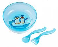 Тарелка на присоске с крышкой, ложкой и вилкой - голубой набор с пингвинами, Canpol babies