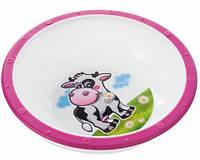 Тарелка-миска пластиковая с нескользящим дном Корова, с розовым ободком, Canpol babies