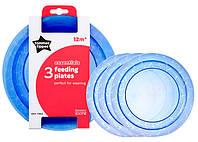 Тарелочки мелкие, набор из 3 штук, синие, Tommee Tippee