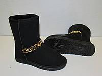 Угги черные украшены цепью на меху, размеры 36-41