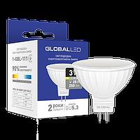 Светодиодная лампа GLOBAL (MAXUS), 3W, 3000K, тёплого свечения, MR16, цоколь - GU5.3, 2 года гарантии!!