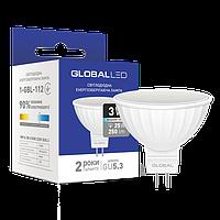 Светодиодная лампа GLOBAL (MAXUS), 3W, 4100K, нейтрального свечения, MR16, цоколь - GU5.3, 2 года гарантии!!