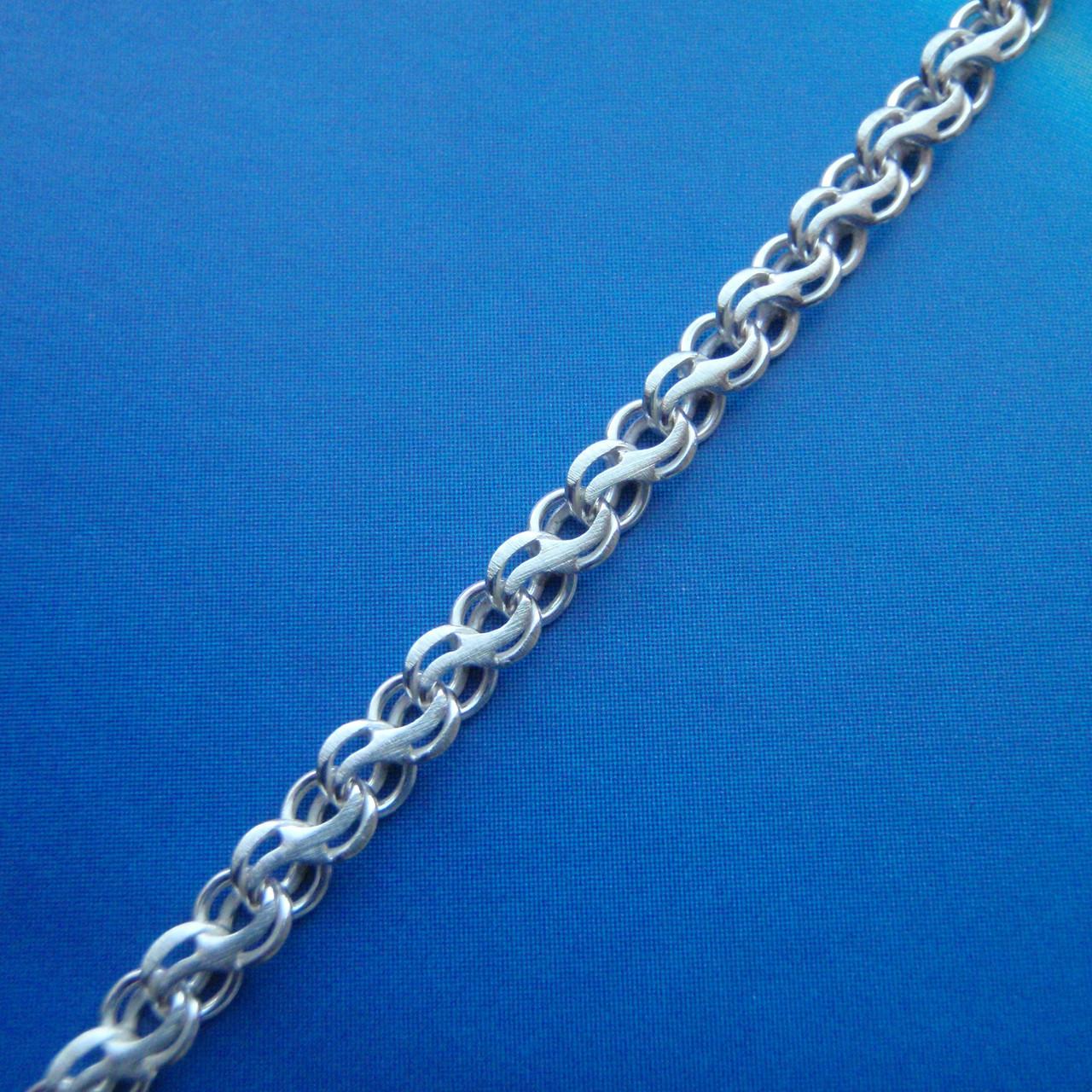 Серебряная цепочка, 500мм, 8,3 грамма, плетение ручеек, светлое серебро