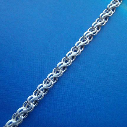 Серебряная цепочка, 500мм, 8,3 грамма, плетение ручеек, светлое серебро, фото 2