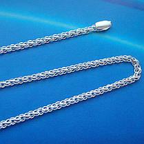 Серебряная цепочка, 500мм, 8,3 грамма, плетение ручеек, светлое серебро, фото 3