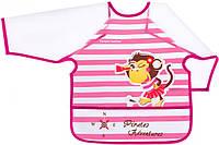 Фартук с рукавами Пираты, розовый с обезьянкой, с 2-х лет, Canpol babies