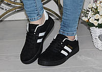 Женские кроссовки, замшевые, черные  / кроссовки женские, модные и удобные