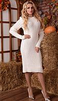 Вязаное платье Шанель Косы 42-48р белый