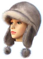 Оригинальная  шапка ушанка из меха норки цвет колотый лед
