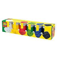Яркие краски, гуашь, (6 цветов в пластиковых баночках), SES