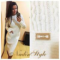 Вязаное платье ВИКИ Карманы 42-48р белый