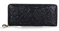 Стильный женский кошелек из натуральной кожи черного цвета на молнии