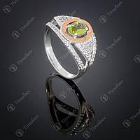 Серебряное кольцо с хризолитом и фианитами. Артикул П-368