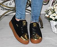 Женские кроссовки криперы, замшевые, черные / низкие кроссовки женские, золотой носик, модные