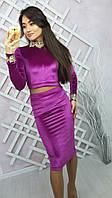 """Женский костюм из бархата модного фасона """"Красивый декор, юбка-карандаш + укороченная кофточка""""  РАЗНЫЕ ЦВЕТА"""