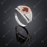 Серебряное кольцо с гранатом и фианитами. Артикул П-368