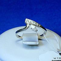 Срібне кільце покрите родієм з цирконом кс 158