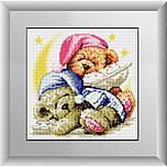 Алмазная мозаика круглыми камнями «Спящие мишки» Dream Art 20002 (24,5 х 24,5 см) на холсте