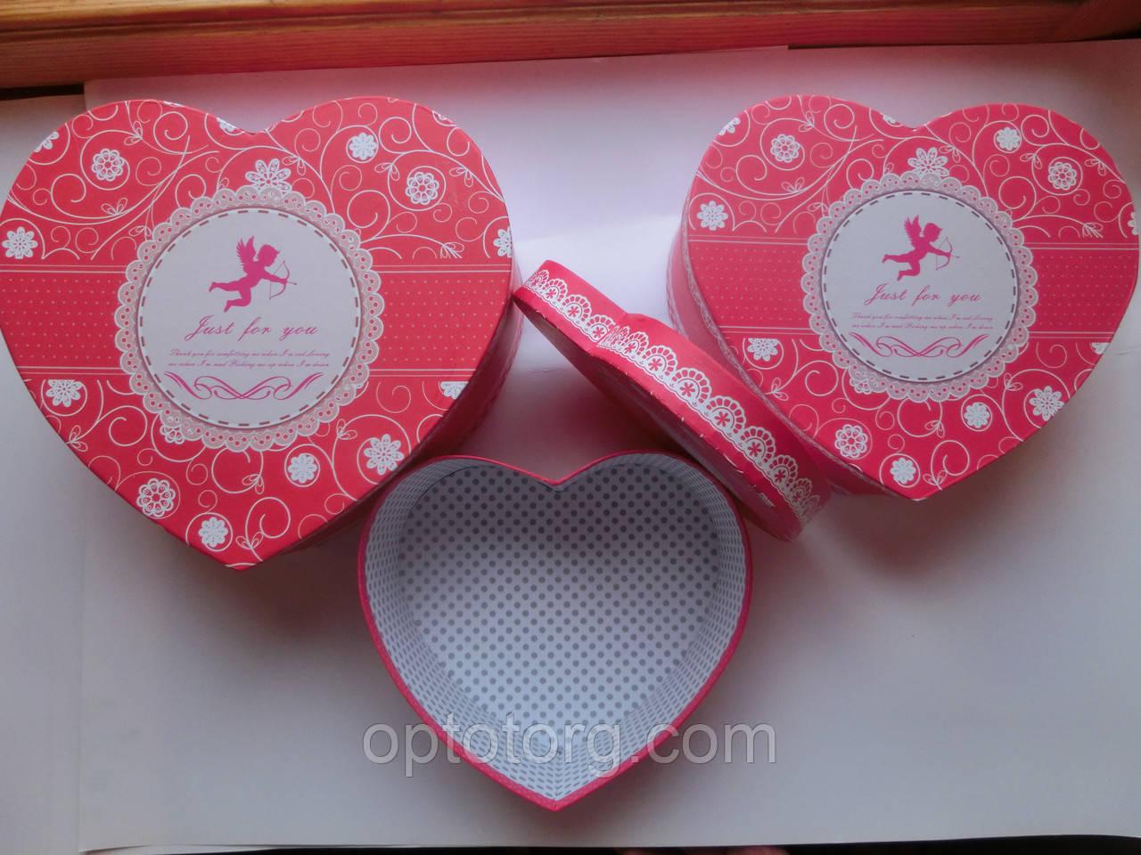 Подарочные коробки набор 3 шт сердце большие