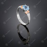 Серебряное кольцо с топазом и фианитами. Артикул П-369
