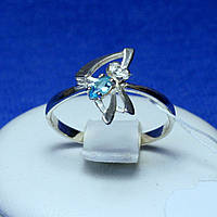 Срібне кільце з блакитним фіанітом 1263г