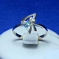 Срібне кільце з блакитним фіанітом 1263г, фото 1