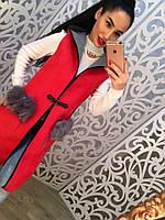 Женский стильный жилет с капюшоном красного цвета. Размер 42-46.