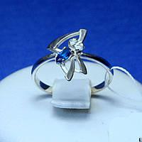 Кільце зі срібла з синім цирконом 1263с
