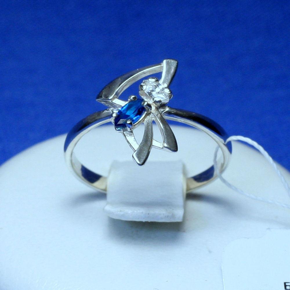 Серебряное кольцо с синим фианитом 1263с, фото 1