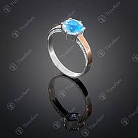 Серебряное кольцо с топазом и фианитами. Артикул П-370
