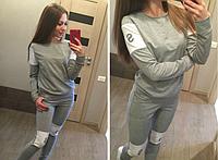 """Стильный молодежный серый женский спортивный костюм """"AS"""" двунитка"""