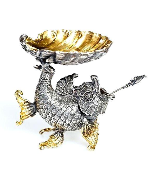 Серебряная Икорница Золотая Рыбка с ложечкой