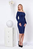 Трикотажное платье за колено с открытым плечами 44-50 размера
