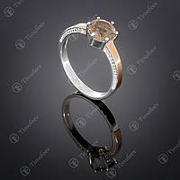 Серебряное кольцо с раухтопазом и фианитами. Артикул П-370