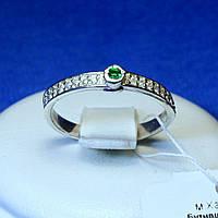 Серебряное кольцо с зеленым камнем Дорожка кс 1275з