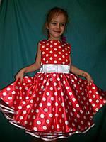 Детское  платье для девочек красное в горох