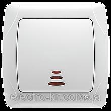 Выключатель одноклавишный с подсветкой Viko Carmen белый