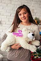 Нежный плюшевый медвежонок Джек молочного цвета размером 53 см