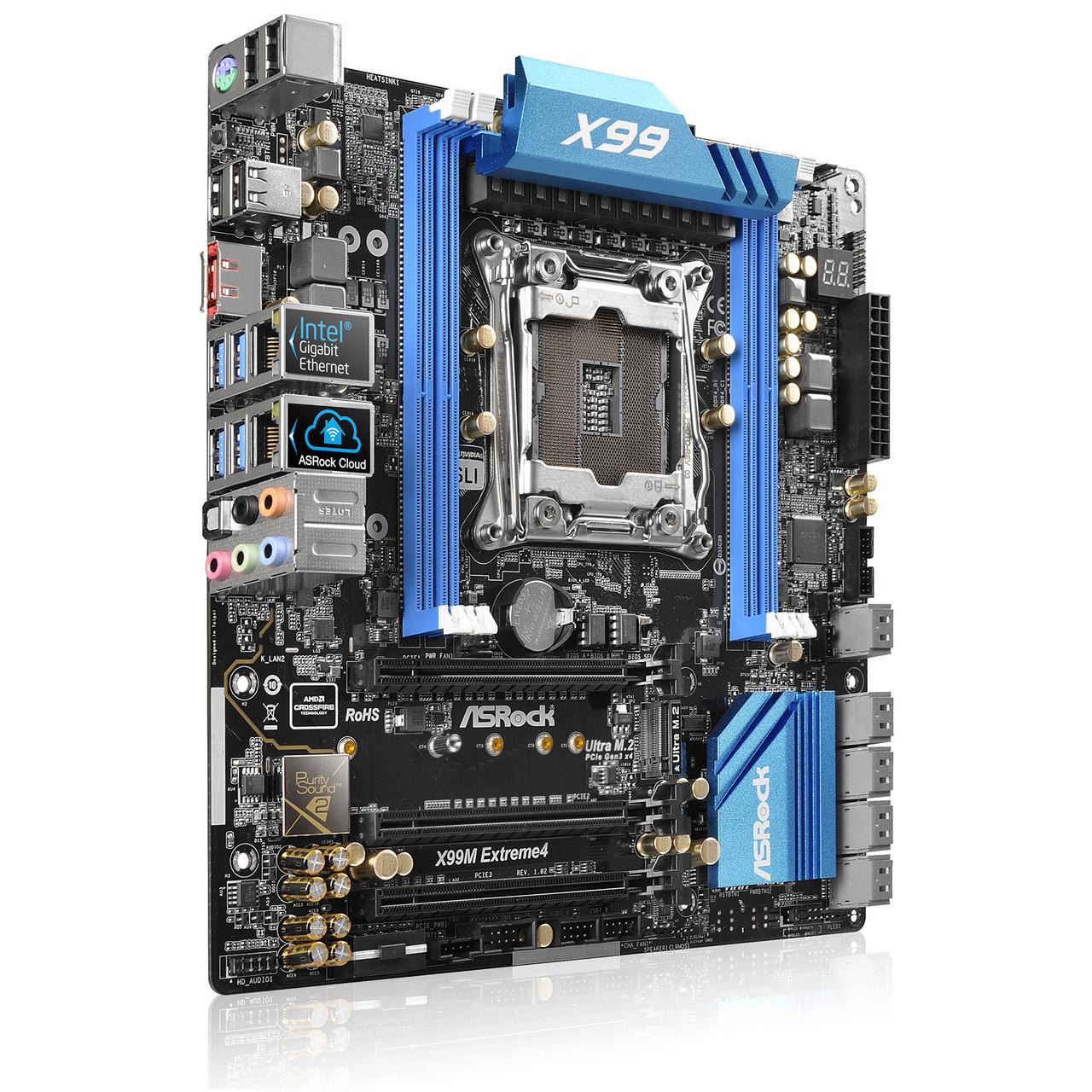 "Материнская плата ASRock X99M EXTREME4 DDR4 s.2011-3 Intel X99 ""Over-Stock"""