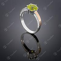 Серебряное кольцо с хризолитом и фианитами. Артикул П-370