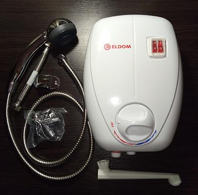 Электрический проточный водонагреватель Eldom Betta 6,5 kw (3+3,5) душ+кран 72486C
