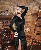 Бархатное платье с декольте и разрезом кружево 0520 (ФК)