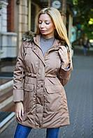 Куртка - парка с искусственным мехом енота